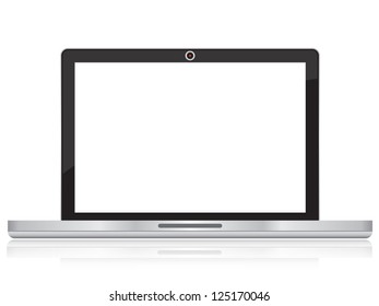 Online and Social Media Concept Present By Realistic Laptop PC With Blank Screen For Your Own Text Message Isolated on White Background