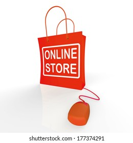 Online Store Bag Showing Shopping and Buying From Internet Stores