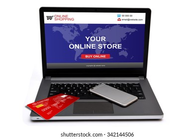 Online Store with Credit card and smart phone on laptop screen