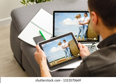 Online streaming concept: man using a laptop with online streaming website on the screen. Screen graphics are made up.