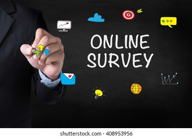 ONLINE SURVEY Businessman drawing Landing Page on blurred abstract background
