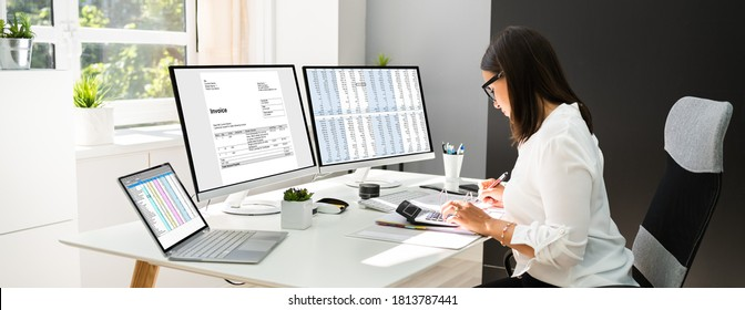 Online Taxes And Invoice Using Computer And Calculator