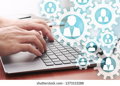 Online teamwork concept. Using internet for communication. 