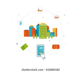 Online ticket reservation. Hotel booking. Passenger transport concept. Cityscape background. Urban landscape and hotel service. Color line icons