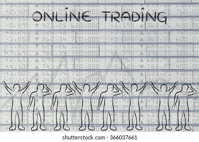 online trading: group of investors with mixed feelings, happy or sad
