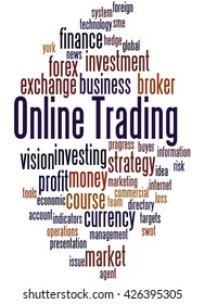 Online Trading, word cloud concept on white background.