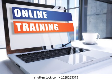Online Training text on modern laptop screen in office environment. 3D render illustration business text concept.