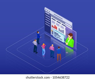 Online training, workshops and courses visualization flat 3d web isometric infographic concept template. People look at the screen and listen to the coach. Raster image