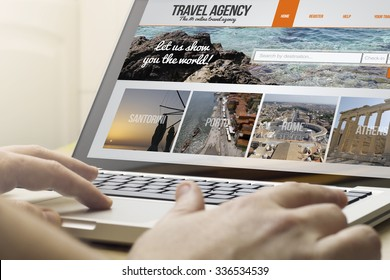 online travel concept: man using a laptop with travel agency on the screen. Screen graphics are made up.