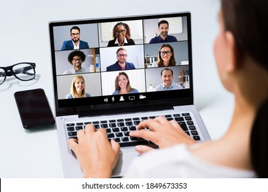 Online Video Conference Business Meeting Call On Laptop - Shutterstock ID 1849673353