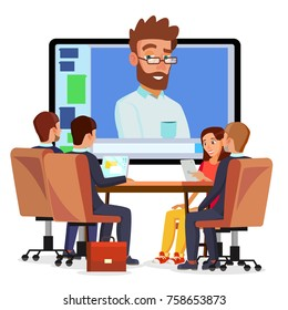 Online Video Conference. Man And Chat. Director Communicates With Staff. Webinar. Business Meeting, Consultation, Seminar, Online Training Concept. Flat Cartoon