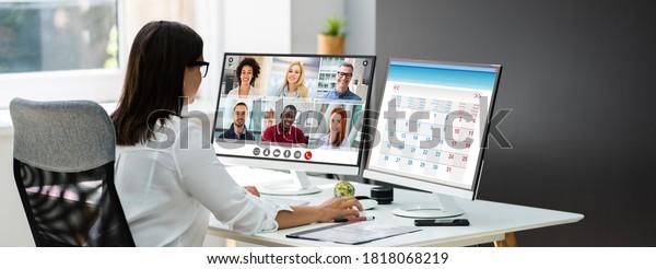 Online Video Interview. Business Conferencing Webinar Banner