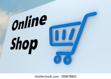 online-shop white wall 3d illustration