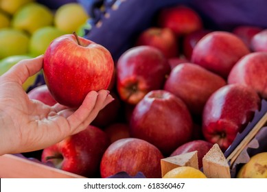 Only the best fruits and vegetables. Beautiful young woman holding apple. Woman buying a fresh red apple in a green market.. Woman buying organic apples at the supermarket
