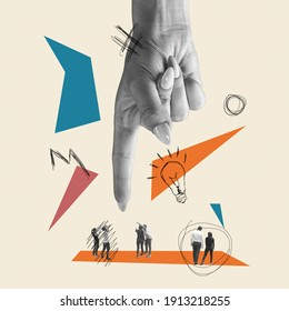 Only ideas can safe the world. Huge female hand choosing people. Modern design, contemporary art collage. Inspiration, idea, trendy urban magazine style. Negative space to insert your text or ad. - Shutterstock ID 1913218255