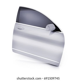 Only one door car on white background. 3d illustration
