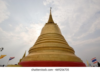 Only one gold Temple public on top mountain at Bangkok, Thailand, view sky background