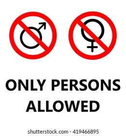 only persons allowed with gender icons in red and black