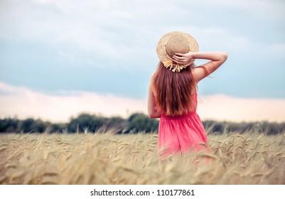 Only rural girl in field