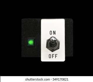 on-off switch of control machine on black background