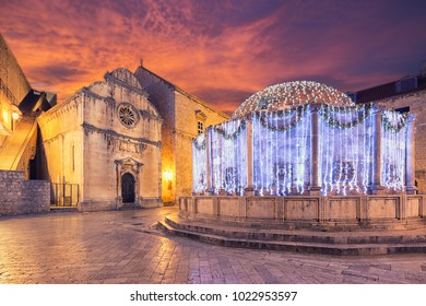 Onofrio's fountain in Dubrovnik. Croatia.