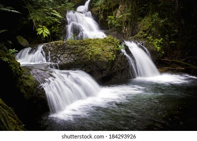 Onomea Falls is located inside of the Hawaii Tropical Botanical Garden on the island of Oahu, Hawaii