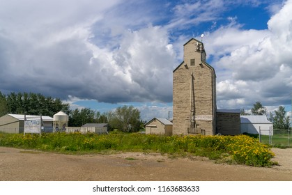 Onoway, Canada, July 22, 2018: Grain Elevator in rural area in uses as communication internet tower