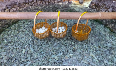 Onsen Hot Spring Eggs in Kusatsu, traditional method of boiling eggs in the natural hot springs in Japan.