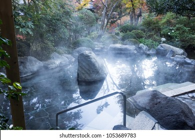Onsen in Japan with natural hot spring water