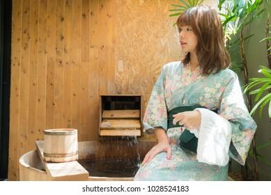 Onsen series: Asian woman in onsen