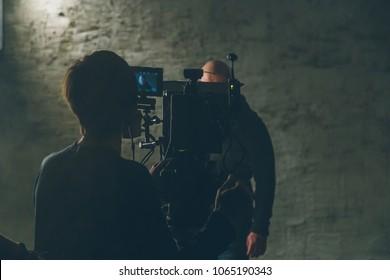 on-set movie camera  and cameraman