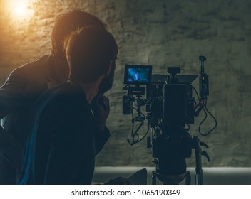 on-set movie camera  and cameraman