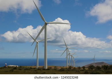 Onshore wind farm on an island: wind turbines work