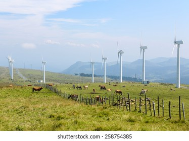 Onshore wind turbine farm in the Northern part of Galicia, Spain.