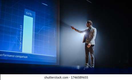 On-Stage: Handsome Speaker Does Presentation, New Product Release, Shows Infographics, Statistic Animation on Big Screen. Auditorium Hall Live Event, Start-up Conference, Device Presentation. - Shutterstock ID 1746589655