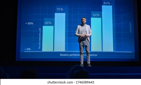 On-Stage: Speaker Does Presentation of the New Electronic Product, Shows Infographics, Statistic Animation on Screen. Auditorium Hall Live Event, Start-up Conference, Device Presentation and Release - Shutterstock ID 1746589643