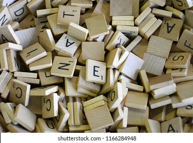 Ontario, Canada - August, 2018 - A large pile of Scrabble tiles.