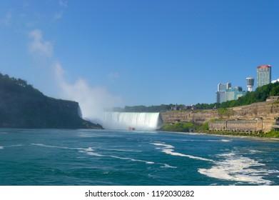 Ontario, Canada - August 23, 2018: Ship in front of Horseshoe Fall, Niagara Falls.