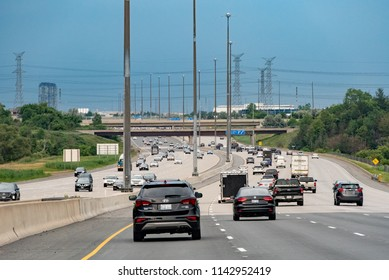 Ontario, Canada - July 5, 2018:  Traffic on Highway 407 ETR eastbound along north edge of Toronto.