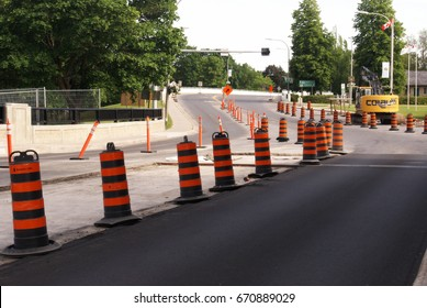 ONTARIO, CANADA, JUNE 10, 2017 EDITORIAL IMAGE OF SOME MAJOR ROAD WORK BEING DONE ON THIS SECTION OF ASPHALT AND BRIDGE AREA.