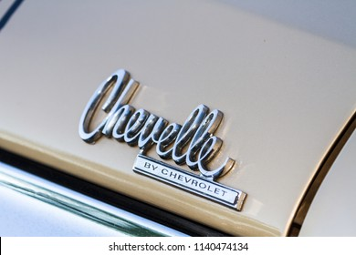 ONTARIO CANADA - JUNE 2 2018: The Chevrolet Chevelle emblem at Oakville Car Show.