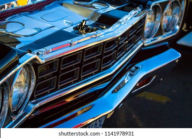 ONTARIO CANADA - JUNE 2018: Beautiful cars on display at Oakville Car Show summer event