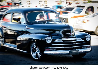 ONTARIO CANADA - JUNE 2018: Classic car in motion blur effect, Oakville Car Show summer event