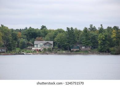Ontario, Canada - Oct. 3, 2018 : Landscape of Canada Thousand Islands