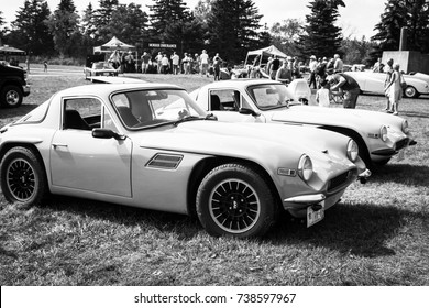 ONTARIO - SEPT 17, 2017: British cars on display at at the 34th Annual British Car Day, Bronte Creek Provincial Park