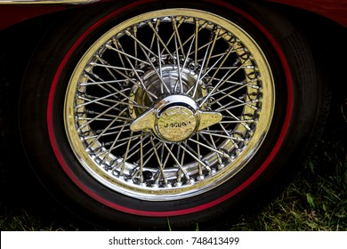 ONTARIO - SEPT 17, 2017: A Jaguar wheels with logo on display at the
