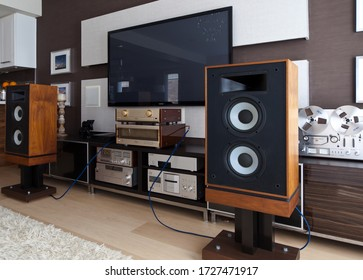 Ontario/Canada - 06 05 2017: Vintage Stereo Gear in Modern Media Room Interior angled view