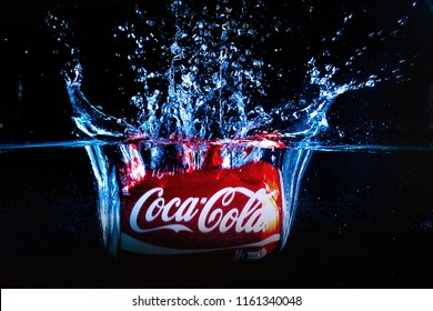 ONTERREY, NL, MEXICO - Ago 21, 2018 Editorial photo of Classic Coca-Cola can on Black Background. Coca-Cola Company is the most popular market leader in Mexico.