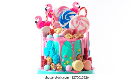 On-trend candyland fantasy drip cake for children's, teen's birthday, anniverary, mother's day and valentine's day celebrations.