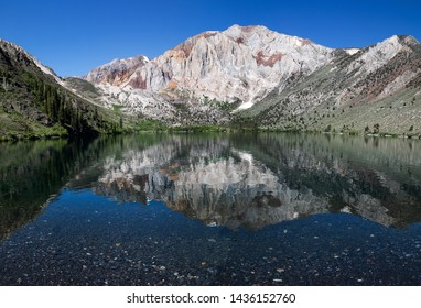 onvict Lake in Mammoth Lakes Area USA. Mammoth Lakes is a town in California's Sierra Nevada mountains. It's known for the Mammoth Mountain and June Mountain ski areas and nearby trails.